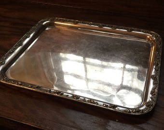 Beautiful vintage Barbour Silver Co heavy floral trimmed nickel silver tray