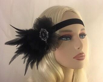 Flapper Headpiece Great Gatsby Headband Downton Abbey Black Gunmetal Flapper Headband 1920s Headpiece 1920s Flapper Rhinestone Headband 3D