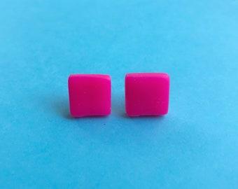 Neon pink earrings, colourful earrings, square earrings, bright earrings, geometric studs, clay earrings, vegan studs, quirky jewellery