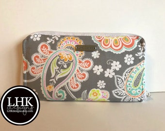 Gray floral zip around women's wallet or billfold