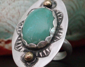 Green Emerald Valley Turquoise Sterling Silver Ring with 14k accents