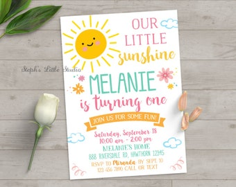you are my sunshine invitation, you are my sunshine birthday invitation, sunshine invitation, girl birthday, first birthday, summer, spring