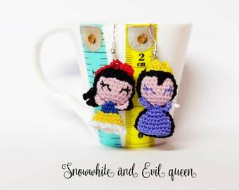Snowwhite and evil queen amigurumi earrings or phone strap charm