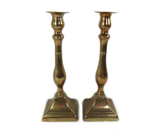 Pair of English Antique Brass Candlesticks