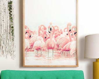 Tropical wall art PRINTABLE art, flamingos print, pink decor, nursery wall art, tropical decor, animal print, bird print, Large artwork