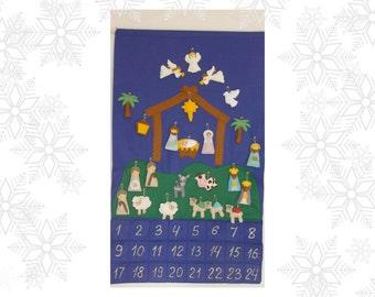 Nativity Advent Calendar + 24 christmas Ornaments Felt Advent Personalized  christmas countdown Religious Christmas