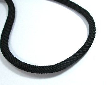Rib silk cord, 7mm black cord - 1m