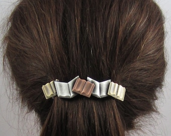 Books French Barrette 80mm- Book Lover Gift- Hair Accessories- Hair Clips- Teacher Gift