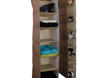 Set of 2 - Hanging Closet Organizer Shelves Shoes Sweaters Purses