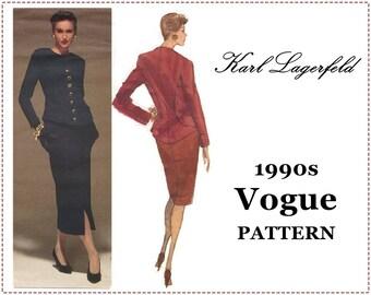 1990s Karl Lagerfeld Sewing Pattern - Vogue 2584 - Vogue Paris Original - Misses' Jacket, Skirt Suit - Size 14 16 18, Bust 36 38 40 - UNCUT