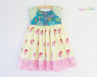 LOLA Dress, Vintage Floral Dress, Girls Easter Dress, Spring Dress for Girls Sizes  2T, 3/4T, 5/6, 7/8 Ready To Ship