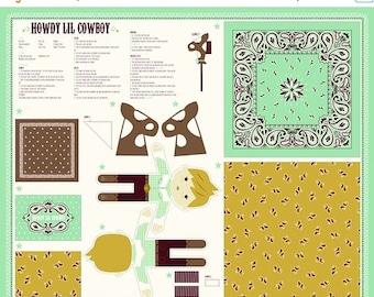20% off thru Apr 24th HOWDY cowboy-panel Moda fabric makes  doll, stick horse, pillow, blanket/quilt 20557-11
