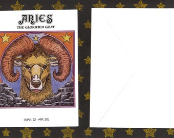 ARIES Astrological Sign, March 22 - April 20, Goat/Ram, Zodiac Card, Astrology Description, Zodiac, Any Occasion, NOS, Unused, Uncommon