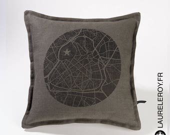 Card Lille gray linen pillow cover