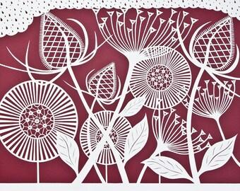 "Handmade art notecard ""Botanical Pattern Red"""