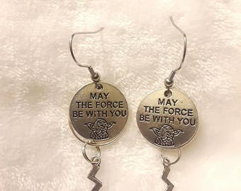 Star Wars **May The Force Be With You** handmade earrings