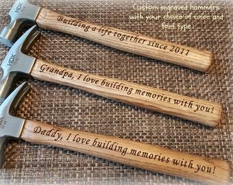 custom engraved hammer, personalized hammer, personalized gift, gift for him, gift for dad, fathers day, tools, 5th anniversary, groomsmen