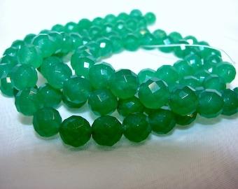 Green aventurine round 8 mm faceted. Semi-precious stones.
