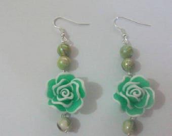 Green fimo Flower Earrings