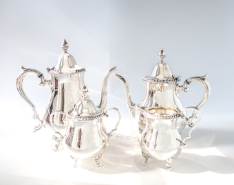 Vintage Silver Plate Coffee Tea Service Set Wallace 60LF Coffee Tea Sugar Creamer