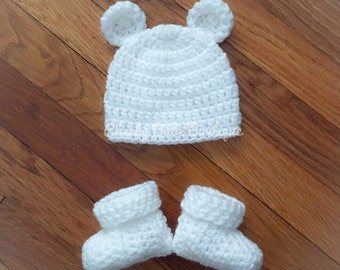 Bear hat and bootie set