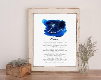 Pisces Print - *INSTANT DOWNLOAD* Watercolor Zodiac Print
