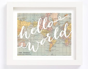 Printable - Hello World Vintage World Map Kid's Room Playroom Travel Nursery Wall Art Print Baby Shower new parents mom gift