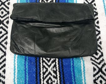 Berman Black Genuine Leather Envelope Clutch