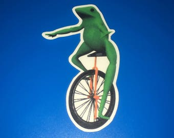 Here Come Dat Boi Clean Cut Out Sticker Dank Frog on Unicycle VRchat Meme Sticker {SS9}