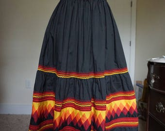 Vintage 1970s Ric Rac Mexican Full A-Line Skirt Size Large