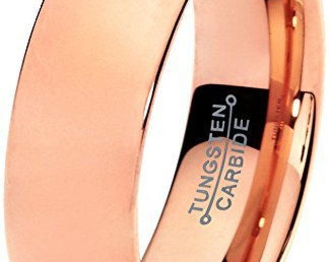 7mm 18k Rose Gold Plate Tungsten Carbide Men's /Women's Wedding Ring Band - Comfort fit