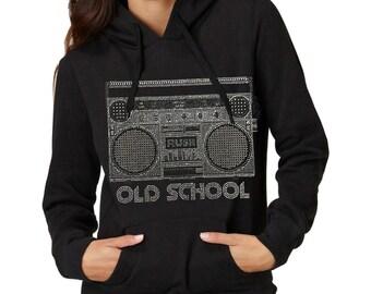 Old School Ghetto Blaster Rhinestone Ladies Pullover Hoodies