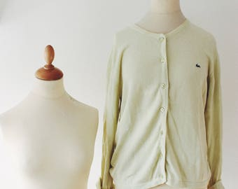 Cardigan vest Lacoste woman yellow vintage very clear france