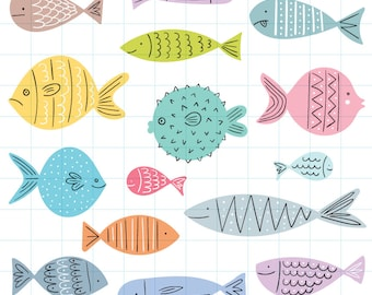 Tropical fish clipart - Hand drawn instant download PNG graphics  - 0022