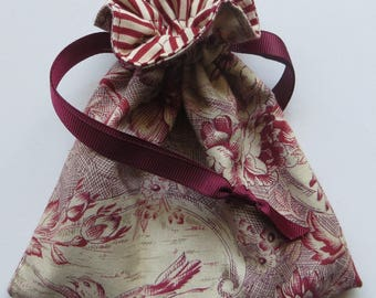 Red Bird Lined Drawstring Jewelry Gift Bag