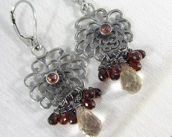 Burgundy Sapphire and Champagne Quartz Dangle Earrings in Sterling Silver