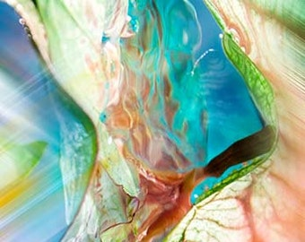 Surreal, Turquoise, Garden, Wall Decor, Aqua, Modern,Leaf, Bright,Photograph Canvas Print