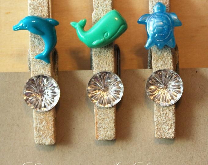 Beach Theme Blue and Green Sea Life Clothespins Set of 3, Sea Life Decor, Sea Life Refrigerator Magnets, Whale Photo Holder, Decorative Clip