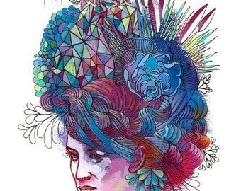 "Portrait Art Print - ""Hair Hat"" - Decorative Pattern Painting - Colorful Woman's Portrait Art"