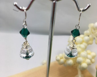 Emerald Green and bright clear Swarovski Element crystal