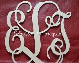 "28"" inch Wooden Monogram Letters- UNPAINTED- Wedding Decor- Home Decor"
