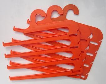 70s Plastic Hangers // Orange // Set of 3 // Flovi // Made In Denmark
