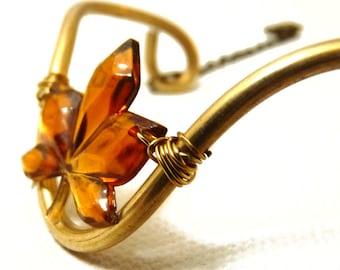 Autumn Leaf Brass Cuff / Bracelet in amber orange