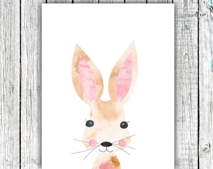 Bunny Nursery Wall Art Printable, Rabbit,baby, woodland, watercolor, Digital Download  #670