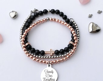Family over Everything Charm Stacking Bracelets