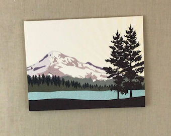 Snowy Mount Hood Oregon Broadfold Thank You Cards with A2 Envelopes  - BC1