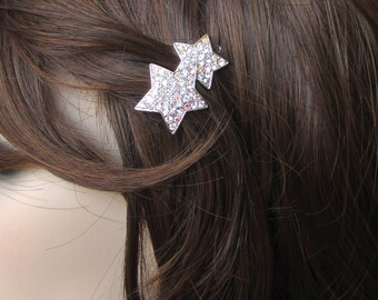 Crystal Star Small Barrette Hair Clip Accessory Silver Tone Clear Clear AB