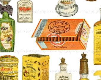Vintage Digital Elements Collage Sheet ATC Ephemera Perfume Clip Art