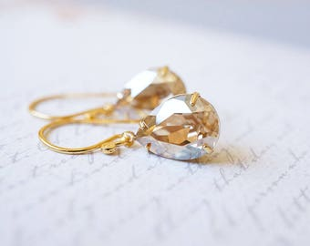 Earrings, Gold Earrings, Swarovski Earrings, Crystal Earrings, Dangle Earrings, Drop Earrings, Bridal Earrings, Bridesmaid Earrings, Gift