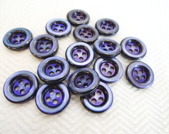 Purple Pearl Vintage Buttons - 8 Mid Century Mother of Pearl 1/2 inch 12mm Sew Through for Jewelry Beads Sewing Knitting